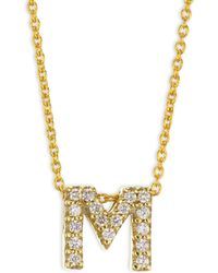 Roberto Coin - Tiny Treasures Diamond & 18k Yellow Gold Letter M Necklace - Lyst