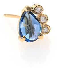 Jacquie Aiche - Blue Topaz, Diamond & 14k Yellow Gold Teardrop Single Stud Earring - Lyst