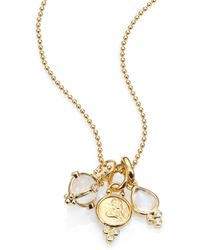 Temple St. Clair - Rock Crystal, Moonstone, Diamond & 18k Yellow Gold Charm Necklace - Lyst