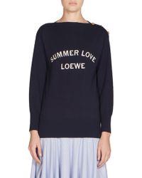 Loewe - Wool Boatneck Logo Sweater - Lyst