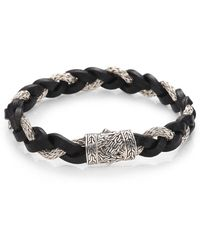 John Hardy - Leather And Silver Braided Bracelet - Lyst