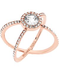 Michael Kors - Crystal Double-band Ring/rose Goldtone - Lyst