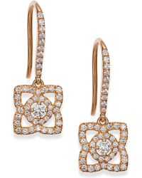 De Beers - Enchanted Lotus Diamond & 18k Rose Gold Drop Earrings - Lyst