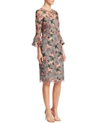 David Meister - Floral-embroidered Lace Trumpet-sleeve Sheath Cocktail Dress - Lyst