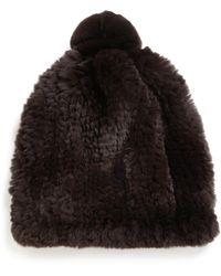 Glamourpuss - Rex Rabbit Fur Slouch Pom Hat - Lyst