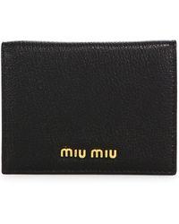 Miu Miu - Madras Metallic Leather Bifold Wallet - Lyst