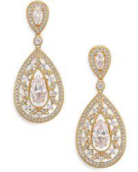 Adriana Orsini - Pave Crystal Small Pear Drop Earrings/goldtone - Lyst