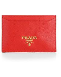 Prada - Saffiano Leather Card Case - Lyst