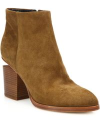 Alexander Wang - Gabi Suede Silver-Cutout Ankle Boots - Lyst