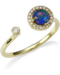 Meira T - 14k Yellow Gold, Opal & Diamond Triplet Ring - Lyst