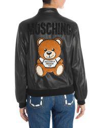 Moschino - Embellished Logo Back Leather Bomber - Lyst