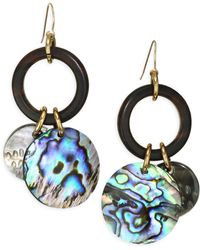 Nest - Abalone Charm Drop Earrings - Lyst