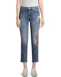 ESCADA - Floral-embroidered Jeans - Lyst