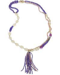 Jordan Alexander - Diamond, Tanzanite, Amethyst, Opal & 18k Yellow Gold Tassel Necklace - Lyst