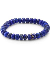 Sydney Evan - 14k Yellow Gold, Diamond & Lapis Lazuli Rondelle Bracelet - Lyst