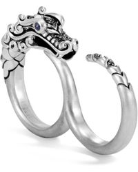 John Hardy - Legends Naga Blue Sapphire & Brushed Silver Two-finger Ring - Lyst