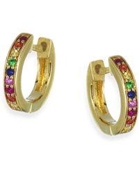 Sydney Evan - Rainbow Sapphire Huggie Hoop Earrings - Lyst