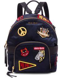 Miu Miu - Patched Mini Backpack - Lyst 08c3ad7bc3fcf