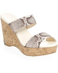 Jimmy Choo - Embossed Wedge Platform Sandals - Lyst