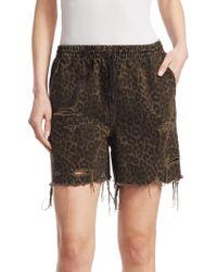 T By Alexander Wang - Leopard Print Jogger Shorts - Lyst