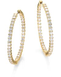 Roberto Coin - Diamond & 18k Yellow Gold Hoop Earrings/2.5 - Lyst
