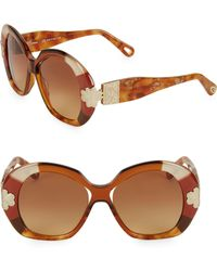 9f2739d2791 Lyst - Chloé Venus Colour Block Cat Eye Sunglasses in White