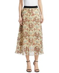Maje - Jimel Pleated Floral Skirt - Lyst