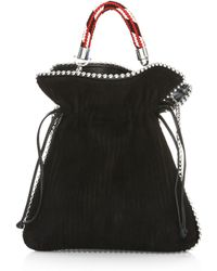 Les Petits Joueurs - Small Trilly Metal Piping Suede Bucket Bag - Lyst