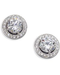 Adriana Orsini - Sterling Silver Round Framed Stud Earrings - Lyst