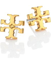 Tory Burch - T-logo Stud Earrings/goldtone - Lyst