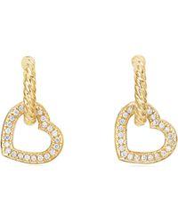 David Yurman - 18k Gold & Diamond Heart Drop Earrings - Lyst