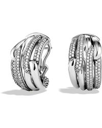 David Yurman | Labyrinth Double-loop Earrings With Diamonds | Lyst