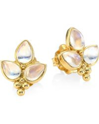 Temple St. Clair - Foglia 18k Yellow Gold & Moonstone Trio Stud Earrings - Lyst