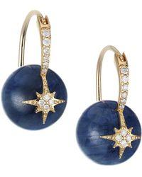 Sydney Evan 14k Yellow Gold, Kyanite Bead & Diamond Starburst Drop Earrings - Multicolour