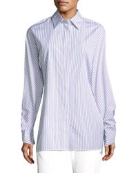 Lafayette 148 New York - Victoria Striped Cotton Blouse - Lyst