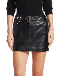 RE/DONE - The Leather Buckle Mini Skirt - Lyst