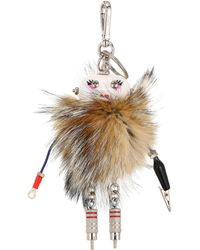 Prada - Trick Robot Fox Fur Keychain - Lyst