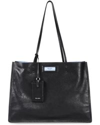 37c631fd314a Prada - Etiquette Leather Shopping Bag - Lyst
