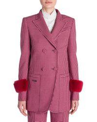 Fendi - Long-sleeve Wool Check Mink Cuff Jacket - Lyst