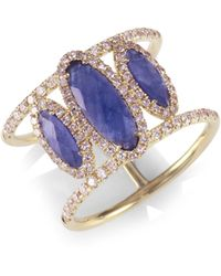 Meira T - Sapphire Oval, Diamond & 14k Yellow Gold Ring - Lyst