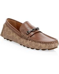 COACH - Leather Chain Driver Loafers - Lyst