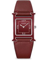 Hermès - Heure H Square Stainless Steel Leather-strap Watch - Lyst