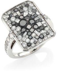 Plevé - Black Galaxy White & Black Diamond Ring - Lyst