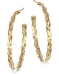 Gas Bijoux - Textured & Braided Brass Hoop Earrings - Lyst