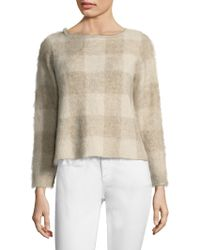 Eileen Fisher - Brushed Mohair Chequered Jumper - Lyst