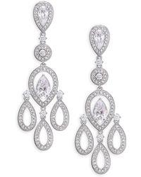 Adriana Orsini - Pavé Pear Chandelier Earrings/silvertone - Lyst