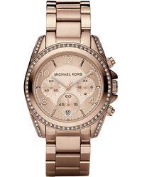 Michael Kors - Blair Rose Goldtone Stainless Steel Chronograph Bracelet Watch - Lyst