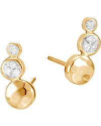 John Hardy - Dot 18k Hammered Gold & Diamond Stud Earrings - Lyst