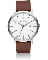 Nixon - Rollo Leather Strap Watch - Lyst