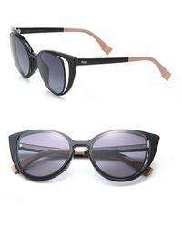 5ff04eef9944 Lyst - Fendi 2jours Metal Catseye Sunglasses in Black
